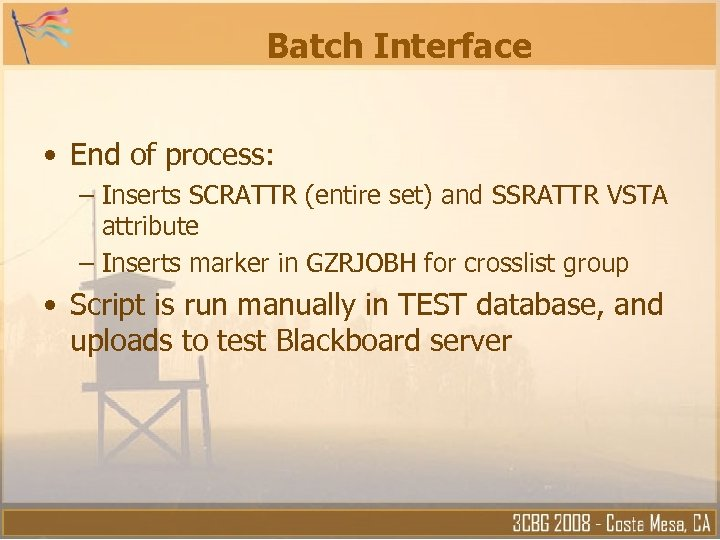 Batch Interface • End of process: – Inserts SCRATTR (entire set) and SSRATTR VSTA