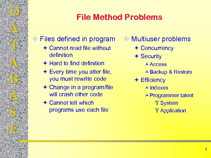 D A T A B A S E File Method Problems ² Files defined