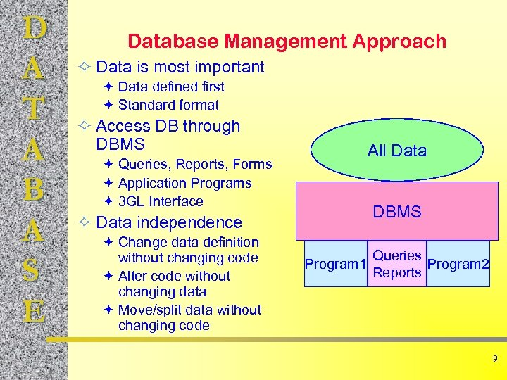 D A T A B A S E Database Management Approach ² Data is