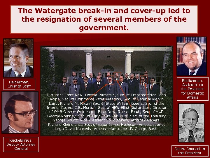 The Watergate break-in and cover-up led to the resignation of several members of the