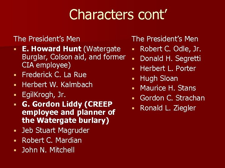 Characters cont' The President's Men § E. Howard Hunt (Watergate Burglar, Colson aid, and