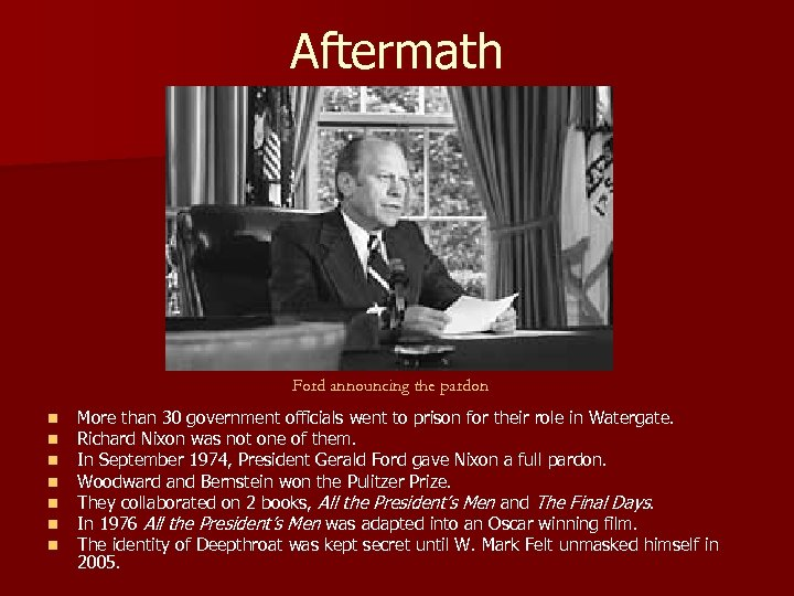 Aftermath Ford announcing the pardon n n n More than 30 government officials went