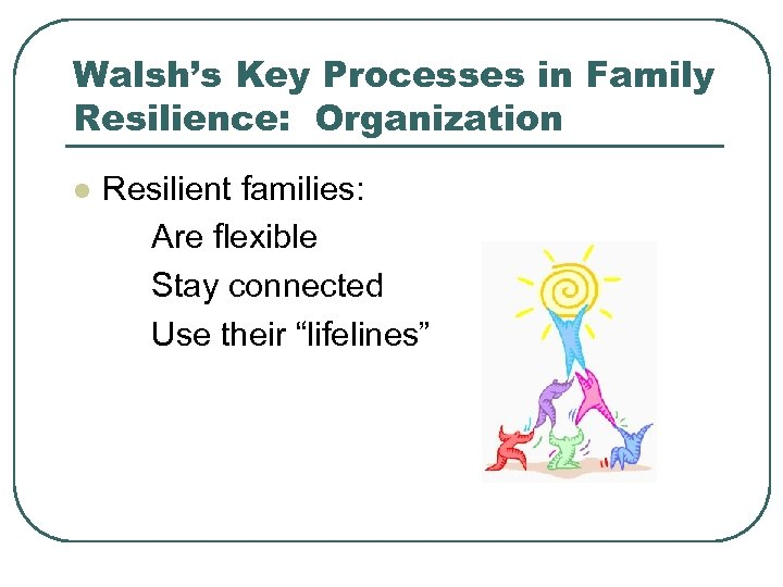 Walsh's Key Processes in Family Resilience: Organization l Resilient families: Are flexible Stay connected