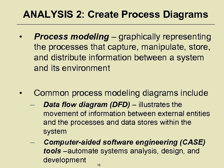 ANALYSIS 2: Create Process Diagrams • Process modeling – graphically representing the processes that