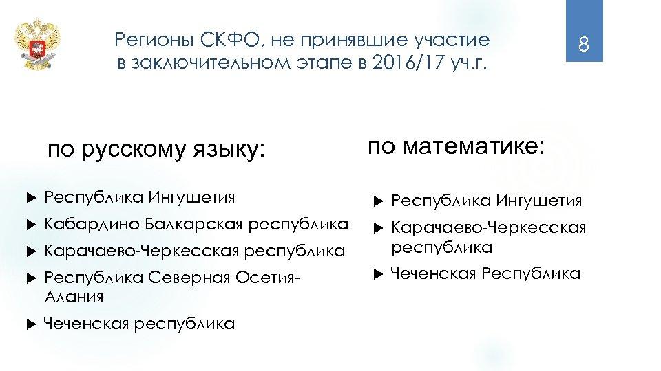 Регионы СКФО, не принявшие участие в заключительном этапе в 2016/17 уч. г. по русскому