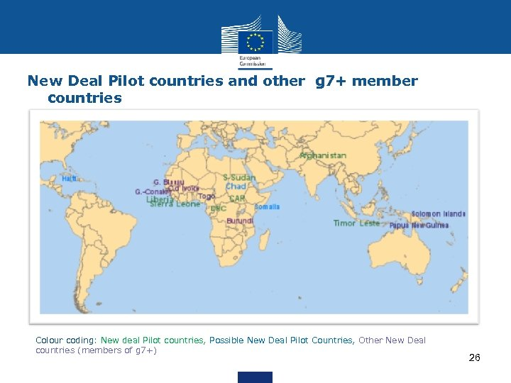 New Deal Pilot countries and other g 7+ member countries Colour coding: New deal