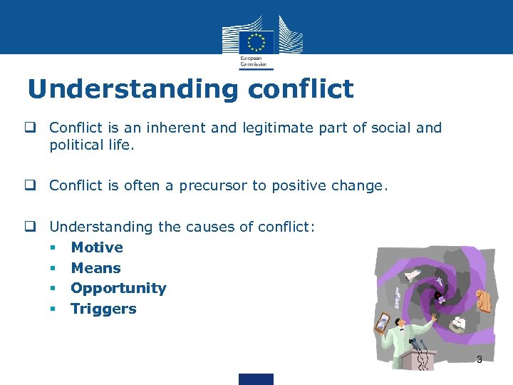 Understanding conflict q Conflict is an inherent and legitimate part of social and political