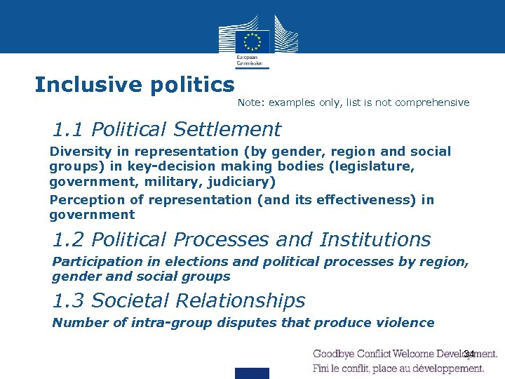 Inclusive politics Note: examples only, list is not comprehensive Ø 1. 1 Political Settlement