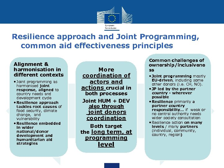 Resilience approach and Joint Programming, common aid effectiveness principles Alignment & harmonisation in different
