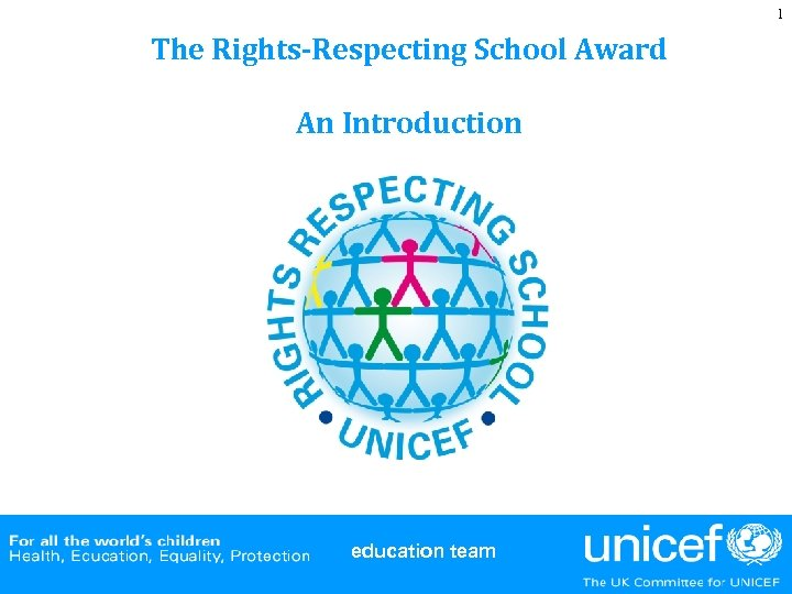 1 The Rights-Respecting School Award An Introduction education team
