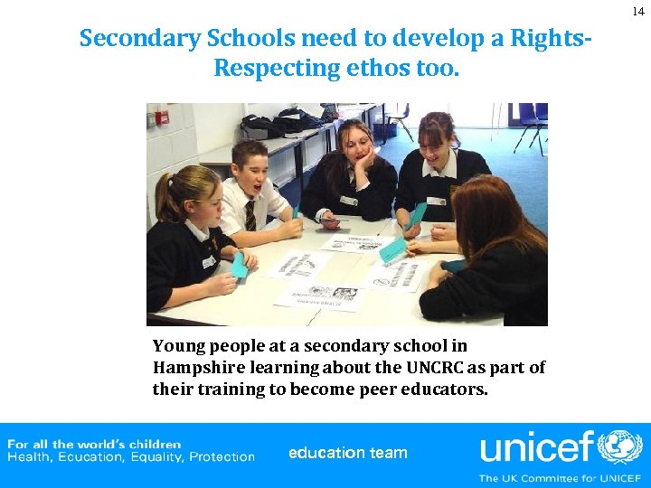 14 Secondary Schools need to develop a Rights. Respecting ethos too. Young people at
