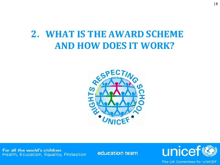 18 2. WHAT IS THE AWARD SCHEME AND HOW DOES IT WORK? education team