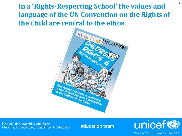 In a 'Rights-Respecting School' the values and language of the UN Convention on the