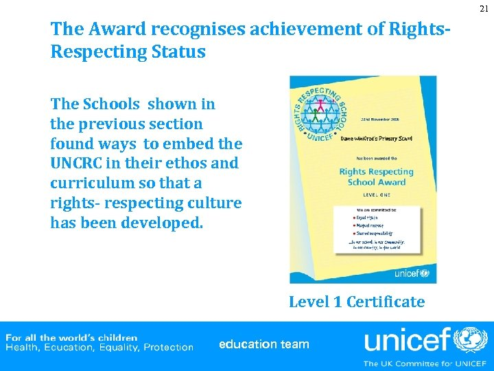 21 The Award recognises achievement of Rights. Respecting Status The Schools shown in the