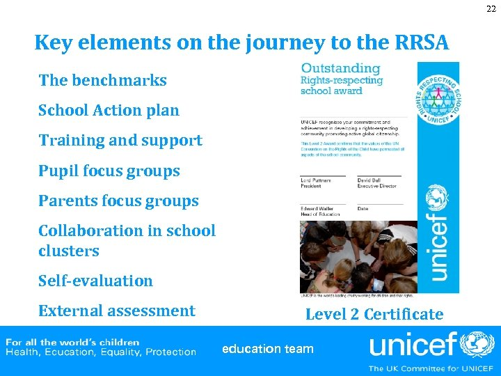 22 Key elements on the journey to the RRSA The benchmarks School Action plan