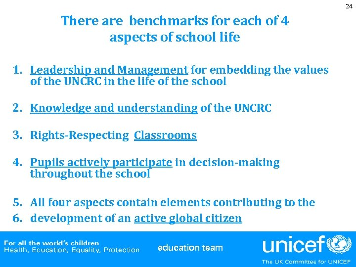 24 There are benchmarks for each of 4 aspects of school life 1. Leadership