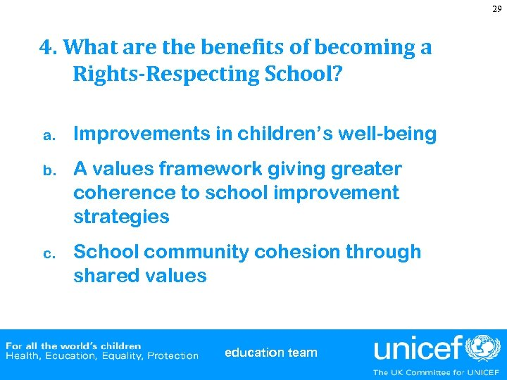 29 4. What are the benefits of becoming a Rights-Respecting School? a. Improvements in