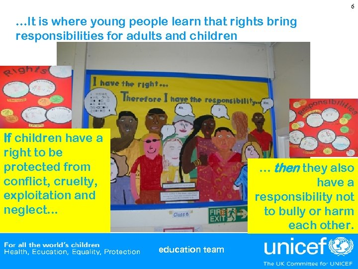 6 …It is where young people learn that rights bring responsibilities for adults and