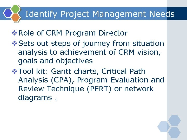 Identify Project Management Needs v Role of CRM Program Director v Sets out steps
