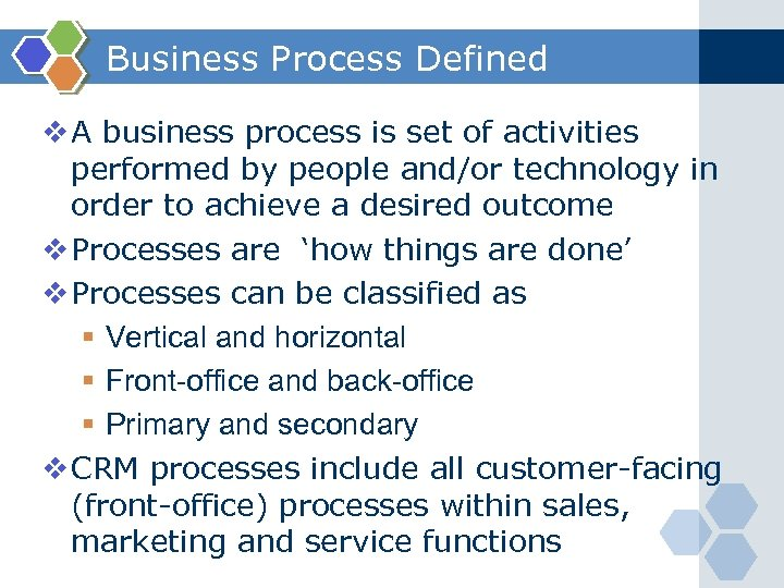 Business Process Defined v A business process is set of activities performed by people