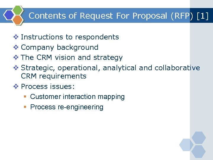 Contents of Request For Proposal (RFP) [1] v Instructions to respondents v Company background