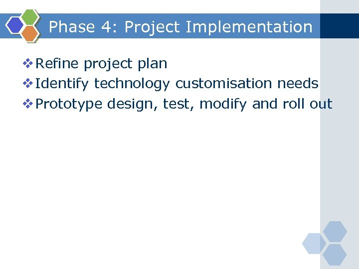 Phase 4: Project Implementation v Refine project plan v Identify technology customisation needs v