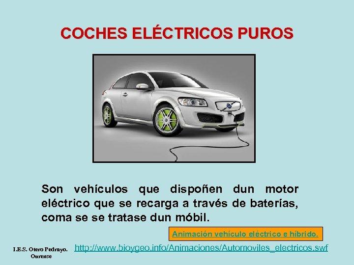 COCHES ELÉCTRICOS PUROS Son vehículos que dispoñen dun motor eléctrico que se recarga a