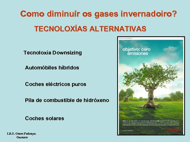 Como diminuír os gases invernadoiro? TECNOLOXÍAS ALTERNATIVAS Tecnoloxía Downsizing Automóbiles híbridos Coches eléctricos puros