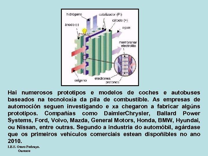 Hai numerosos prototipos e modelos de coches e autobuses baseados na tecnoloxía da pila