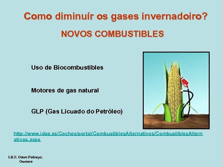 Como diminuír os gases invernadoiro? NOVOS COMBUSTIBLES Uso de Biocombustibles Motores de gas natural