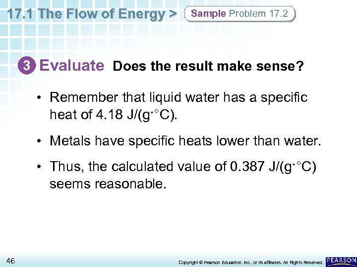 17. 1 The Flow of Energy > Sample Problem 17. 2 3 Evaluate Does