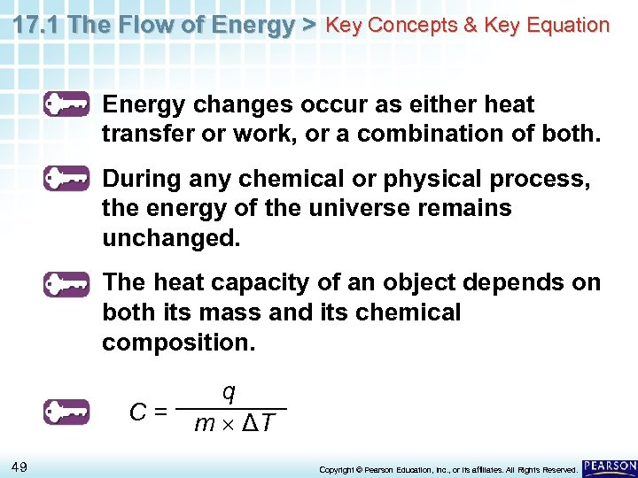 17. 1 The Flow of Energy > Key Concepts & Key Equation Energy changes