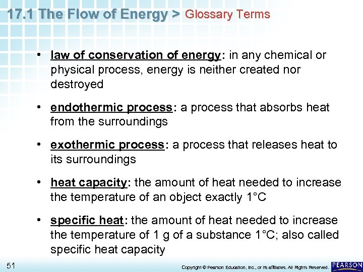 17. 1 The Flow of Energy > Glossary Terms • law of conservation of