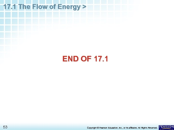 17. 1 The Flow of Energy > END OF 17. 1 53 Copyright ©