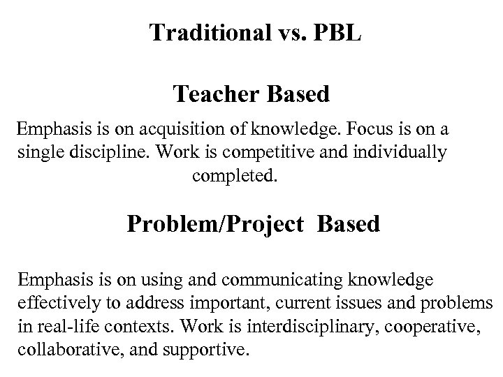 Traditional vs. PBL Teacher Based Emphasis is on acquisition of knowledge. Focus is on