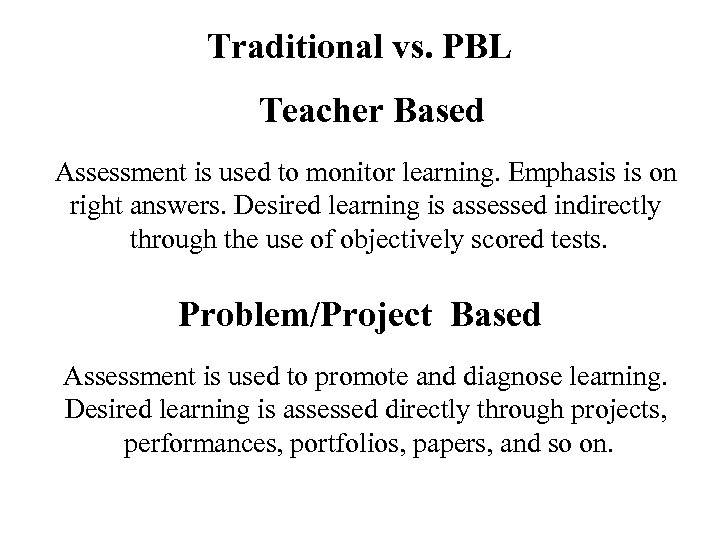 Traditional vs. PBL Teacher Based Assessment is used to monitor learning. Emphasis is on