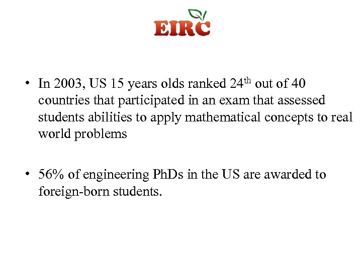 • In 2003, US 15 years olds ranked 24 th out of 40