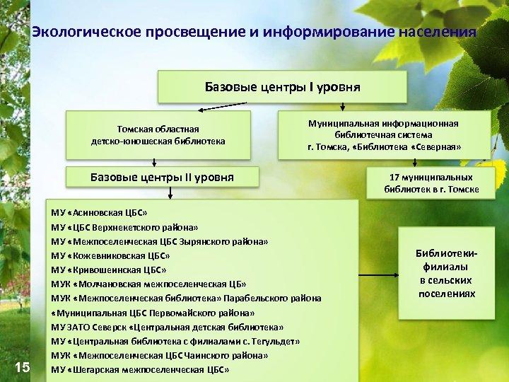 Экологическое просвещение и информирование населения Базовые центры I уровня Томская областная детско-юношеская библиотека Муниципальная