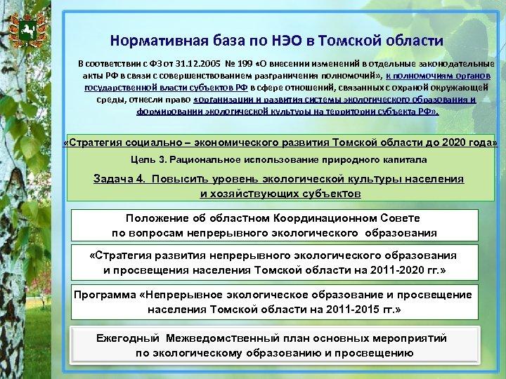 Нормативная база по НЭО в Томской области В соответствии с ФЗ от 31. 12.