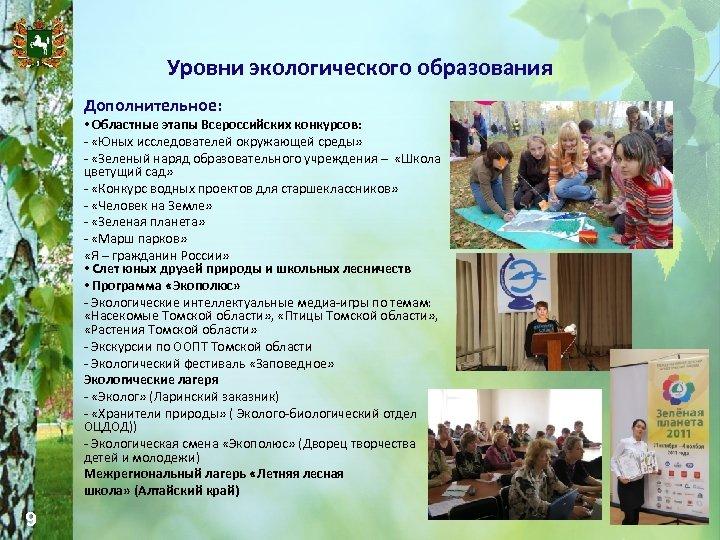 Уровни экологического образования Дополнительное: • Областные этапы Всероссийских конкурсов: - «Юных исследователей окружающей среды»