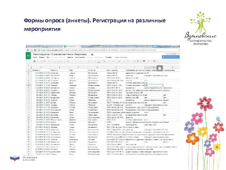 Формы опроса (анкеты). Регистрация на различные мероприятия