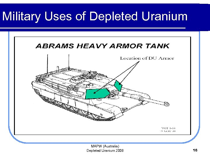 Military Uses of Depleted Uranium MAPW (Australia) Depleted Uranium 2006 16
