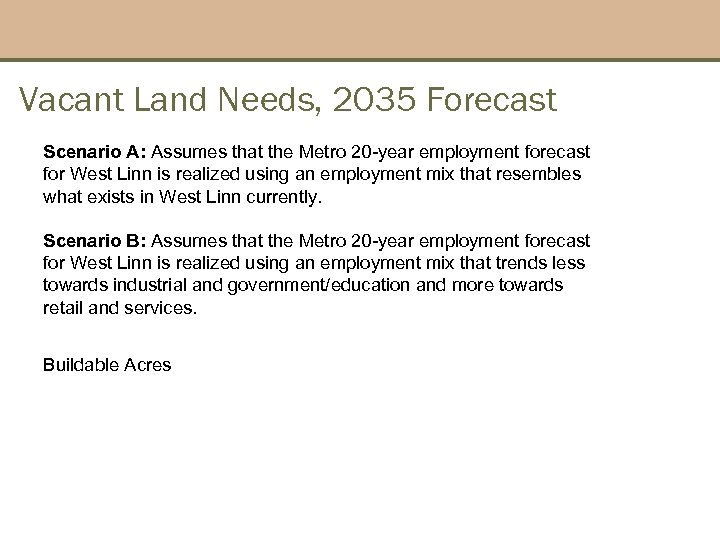 Vacant Land Needs, 2035 Forecast Scenario A: Assumes that the Metro 20 -year employment