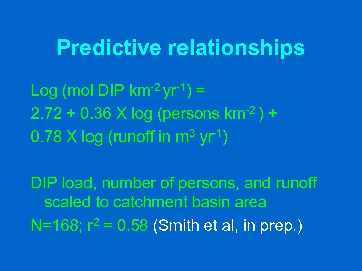 Predictive relationships Log (mol DIP km-2 yr-1) = 2. 72 + 0. 36 X