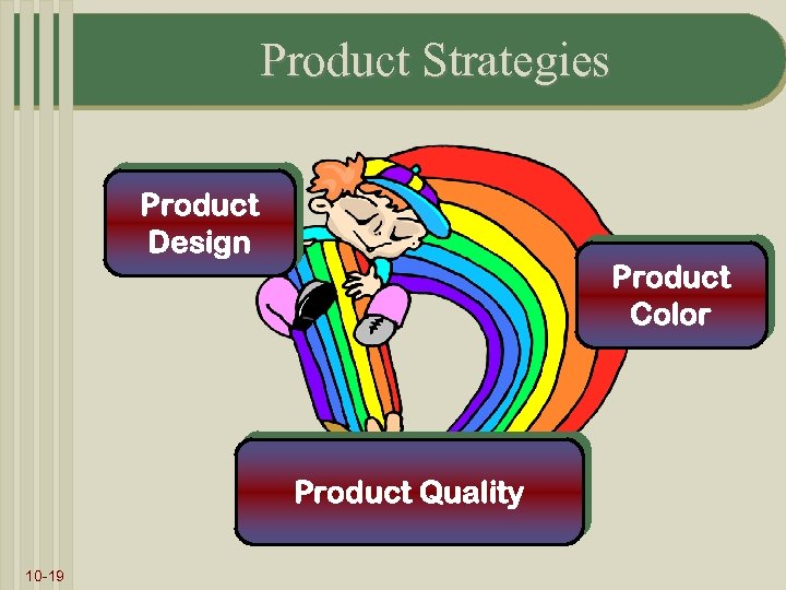 Product Strategies Product Design Product Color Product Quality 10 -19