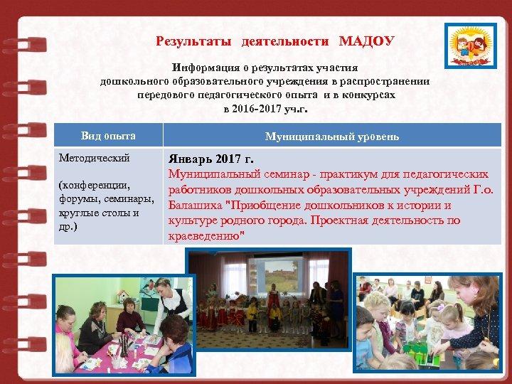 Результаты деятельности МАДОУ Муниципальное дошкольное образовательное учреждение Информация о результатах участия дошкольного образовательного учреждения