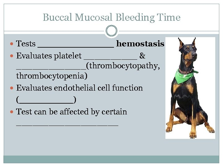 Buccal Mucosal Bleeding Time Tests _______ hemostasis Evaluates platelet _____ & _______(thrombocytopathy, thrombocytopenia) Evaluates