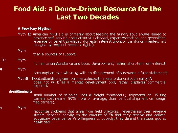 Food Aid: a Donor-Driven Resource for the Last Two Decades A Few Key Myths: