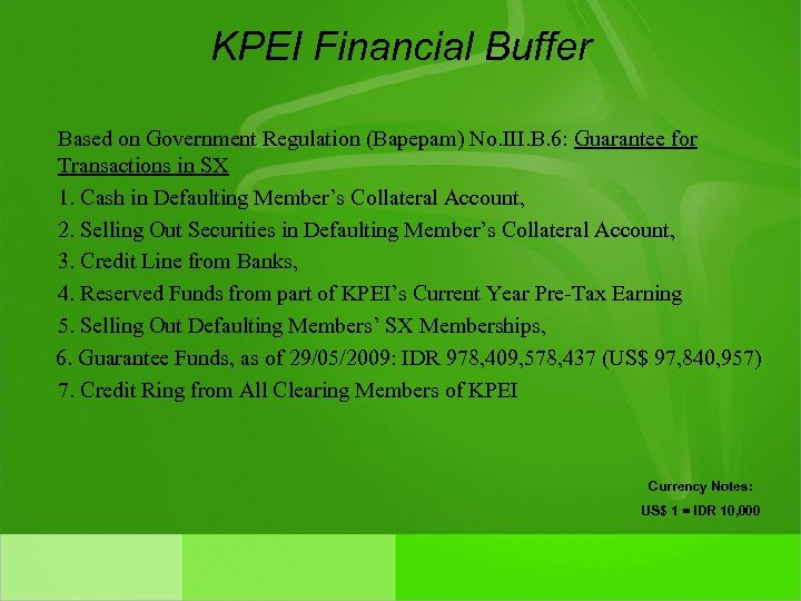 KPEI Financial Buffer Based on Government Regulation (Bapepam) No. III. B. 6: Guarantee for