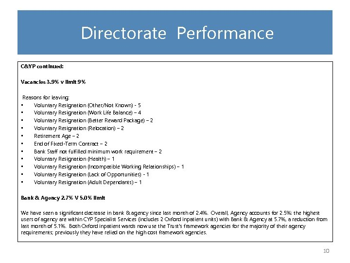 Directorate Performance C&YP continued: Vacancies 3. 9% v limit 9% Reasons for leaving: